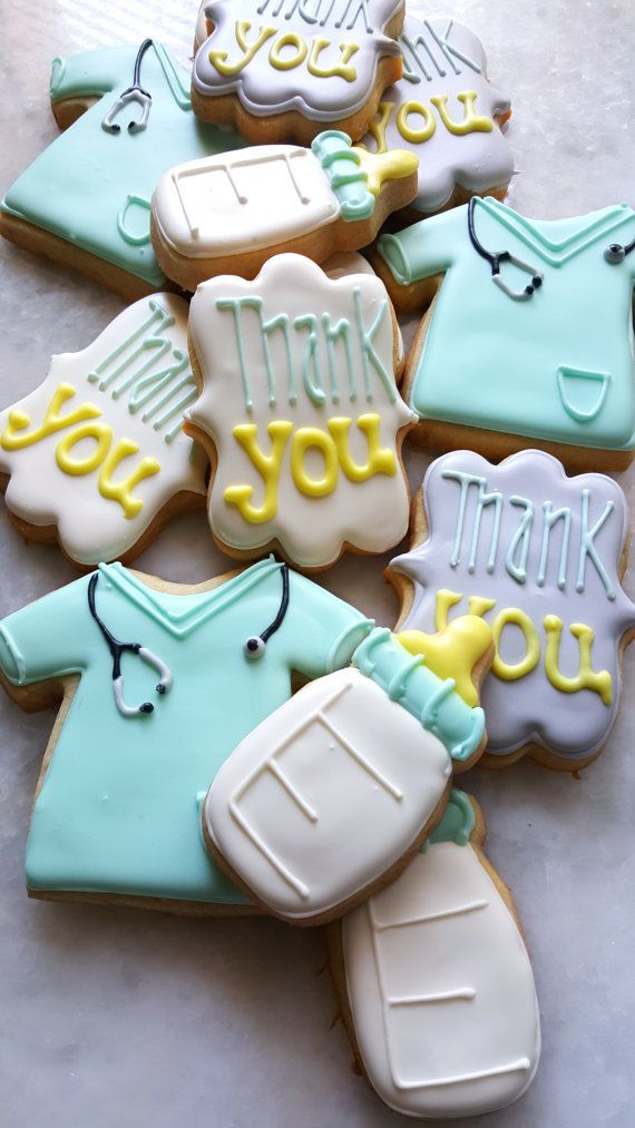 This listing is for 1 dozen (12) of the sweetest assorted nurse labor and delivery appreciation cookies. Assortment includes: 3- Nurse scrubs 3- Baby bottles 6- Thank you cookies  Each cookie is 3.5 - 4 inches in size and is iced in royal icing.  Each cookie is individually packaged in a FDA compliant clear cellophane baggie and heat sealed to ensure freshness and a safe arrival.  Cookie flavors are explained in the frequently asked questions section below. All products are made from high…
