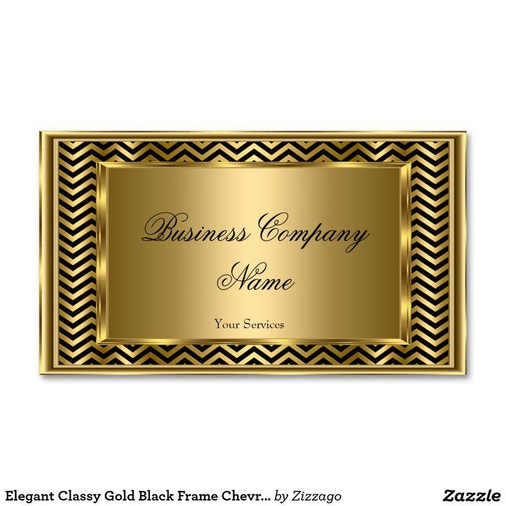 Elegant Classy Gold Black Frame Chevron Stripe Double-Sided Standard Business Cards (Pack Of 100)