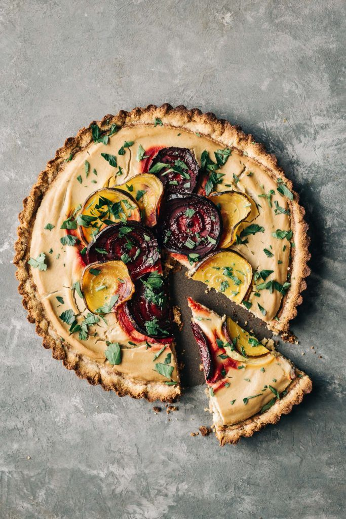 Roasted Beet Tart with Almond Crust - Dishing Up the Dirt