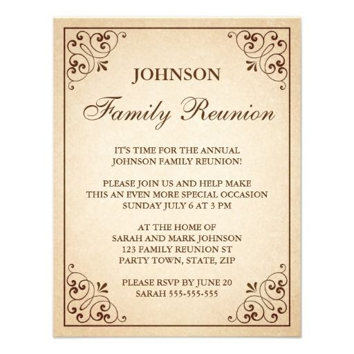 Reunions, Invitations And Family