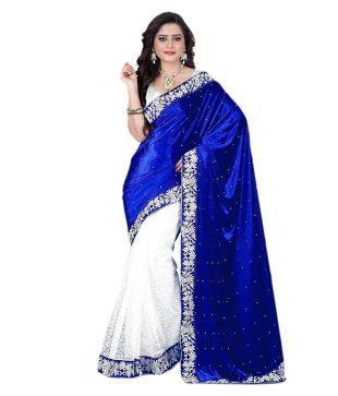 V Art Blue Velvet Saree Price in India - Buy V Art Blue Velvet Saree Online at Snapdeal