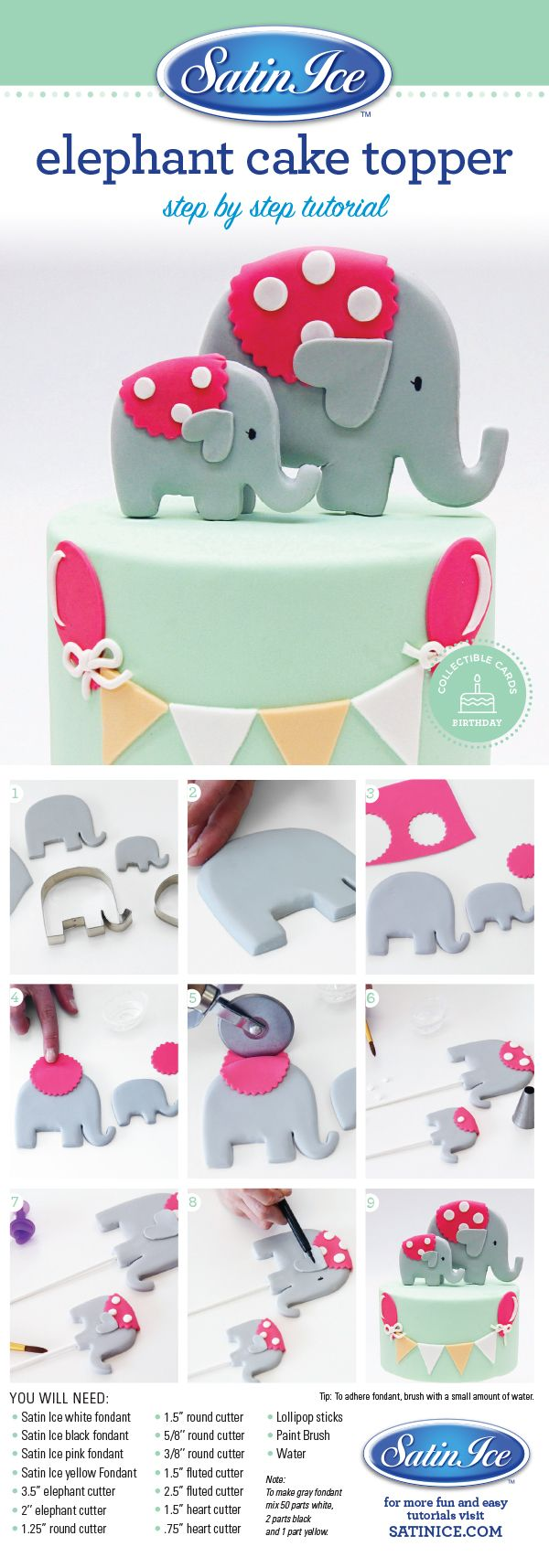 DIY adorable fondant baby elephant topper for a birthday or baby shower by Satin Ice!