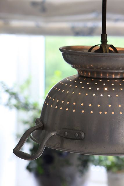 .colander lighting: no instructions, but i'm sure the internet can help me there; something to hang above the bar