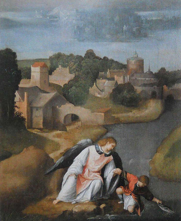 Moretto da Brescia, Tobiolo, con l'Arcangelo Raffaele, cattura il pesce nel fiume Tigri, 1515-1518. Genova,Collezione privata