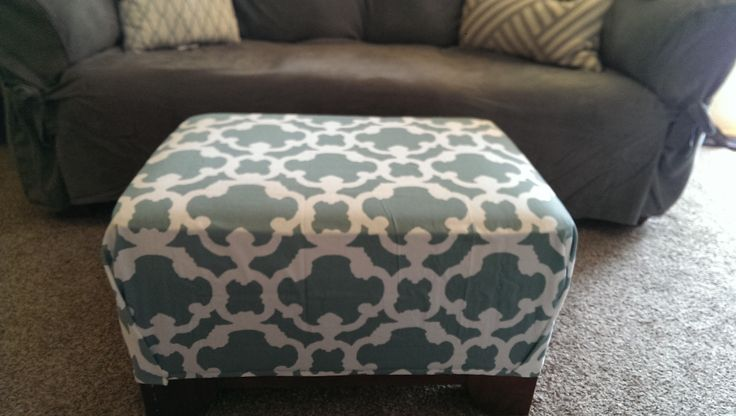 DIY No Sew - Recover ottoman with shower curtain (Target ...