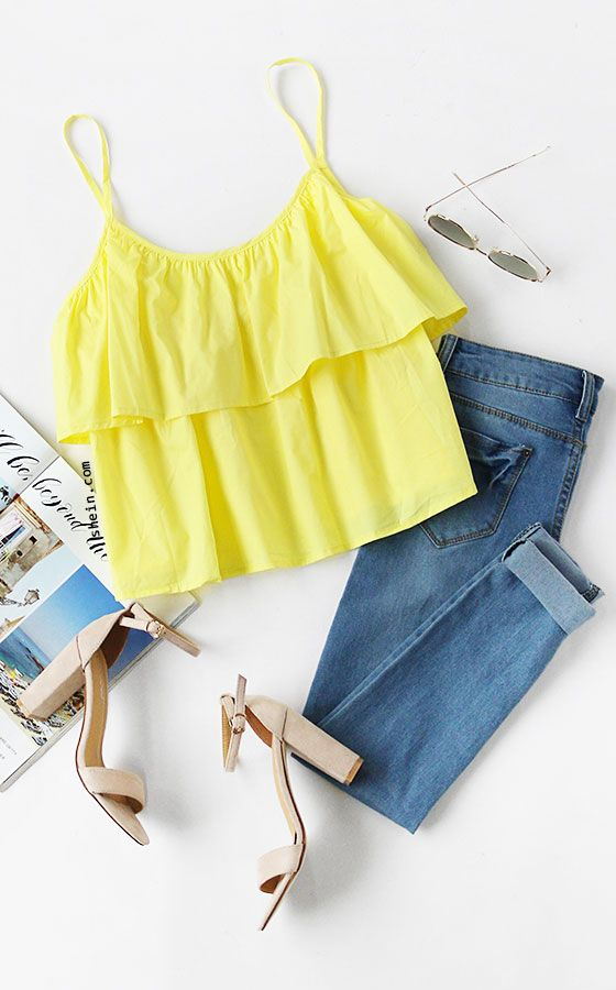 Yellow Layered Ruffle Cami Top