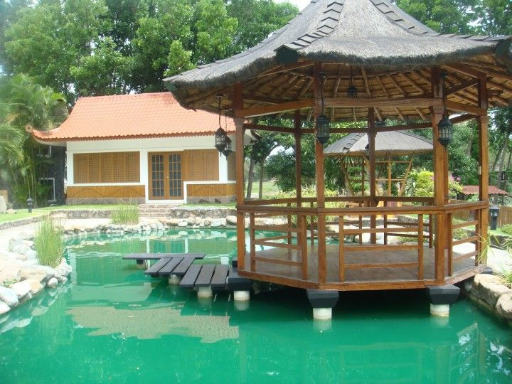 Cozy Japanese Gazebo with Green Water and Planters Finished
