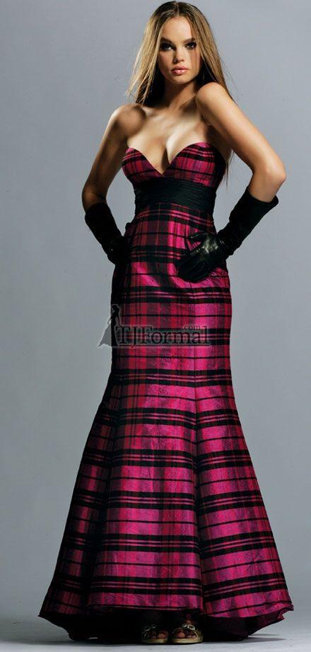 plaid prom dress