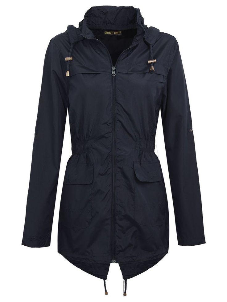 Navy Blue Raincoat Waterproof Fishtail Parka Coat Jacket Size 18
