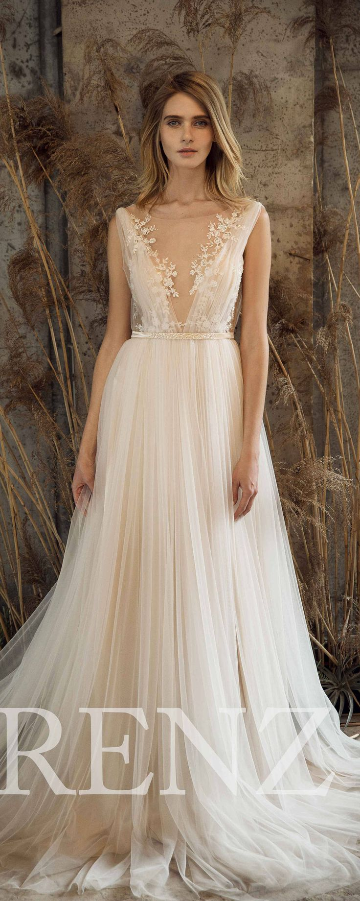 Wedding Dress Off White Tulle DressV Neck Bridal DressLace Illusion Backless Bride