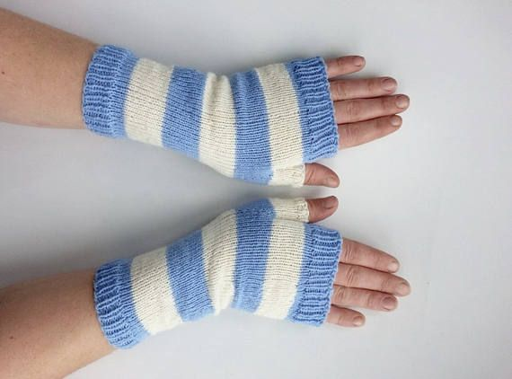 Stripe gloves, stripe wrist warmers, fingerless gloves, armwarmers, long wool gloves, fashion knit gloves, winter warm gloves, wristwarmers