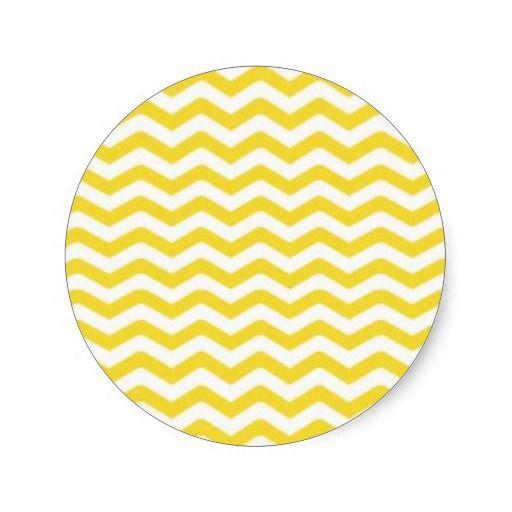Het gele Strakke Patroon van de Chevron Ronde Sticker