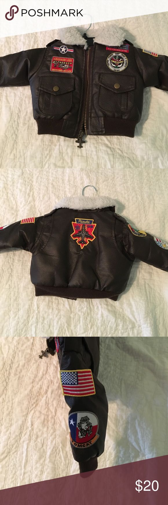 Baby bomber jacket Adorable faux leather bomber jacket with wooly collar & patches. Perfect condition. Up and Away Jackets & Coats