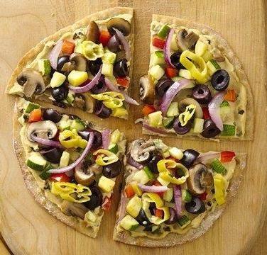 Gluten Free Hummus and Veggie Pizzettas