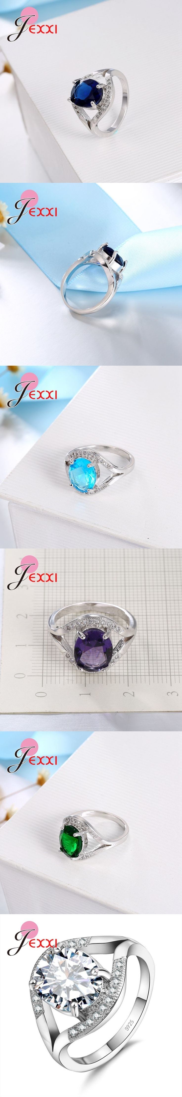JEXXI Elegant 925 Sterling Silver Wedding Ring For Woman Fashion Band Jewelry AAA Austria Crystal Engagement Rings Bijoux Bague