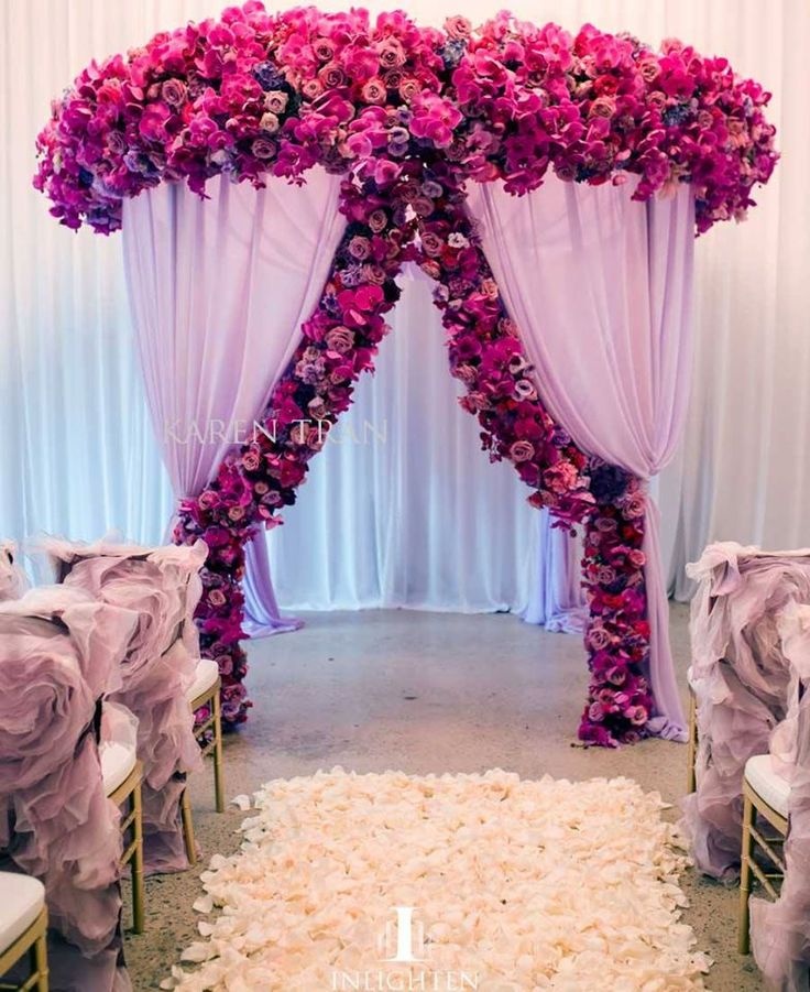 Purple Wedding Arch Decoration Ideas: Wedding Aisle Arch Filled With Pink Roses, Purple Roses