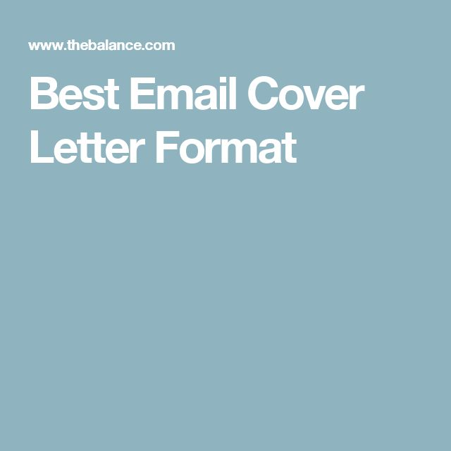 Best Email Cover Letter Format