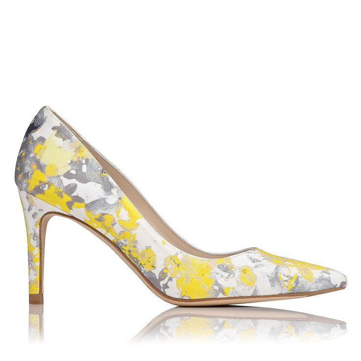 LK BENNETT | Floret Printed Point Toe Court in yellow sweet pea | Leather upper, lining and sole | Heel height: 8.5 cm | £175
