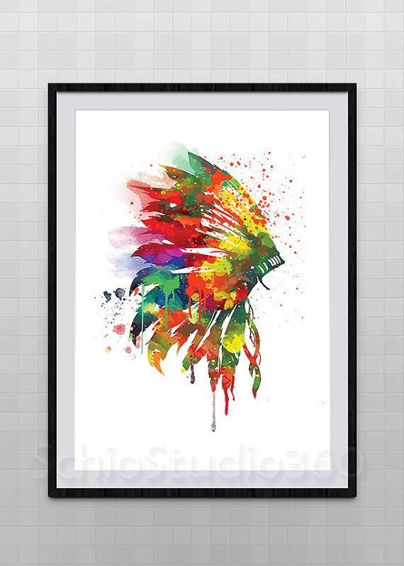 Native American Indian Headdress Watercolor Art by SchioStudio360