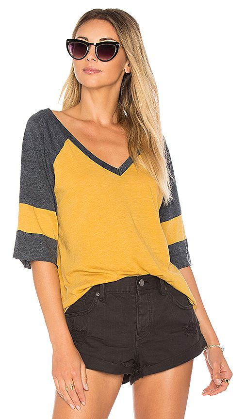 Shop for Chaser Blocked Jersey V Neck Tee in Marigold & Canopy at REVOLVE. Free 2-3 day shipping and returns, 30 day price match guarantee.