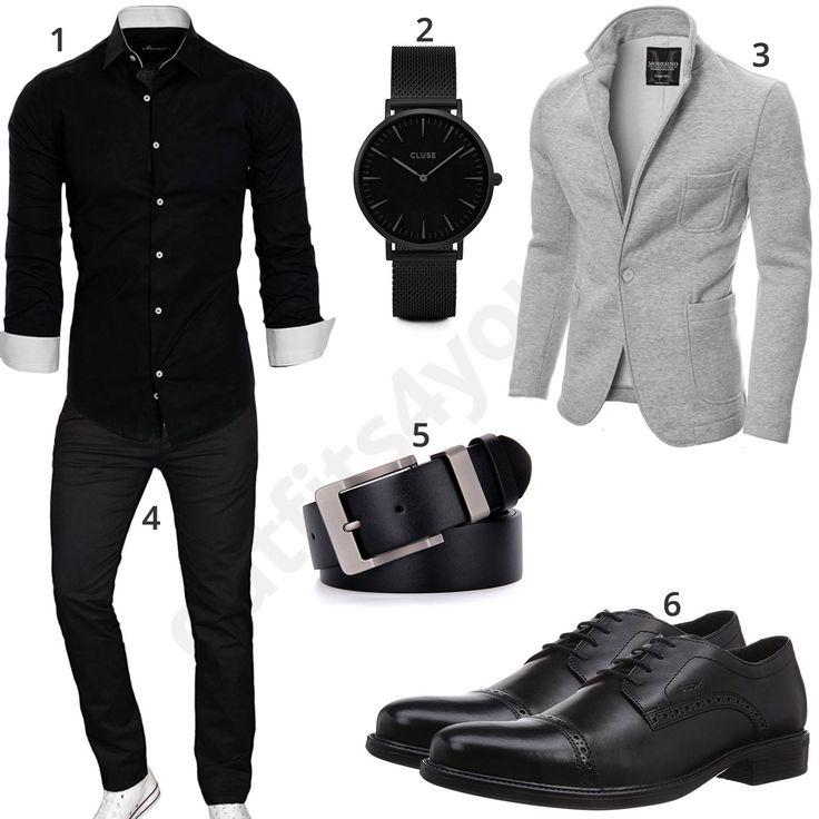 Elegantes Herrenoutfit mit Hemd, Sakko und Schnürschuhen