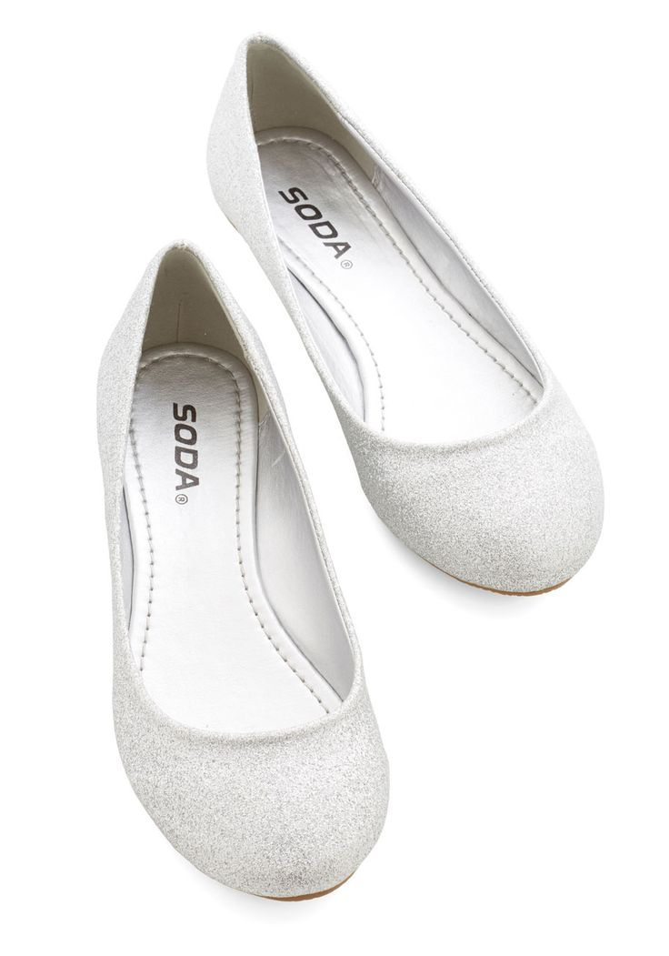 Snazzy Dazzle Flat. Whether you're getting ready for a dazzling occasion, or simply a day that could use a bit of sparkle, these glittering silver shoes are just what you need. #silver #modcloth