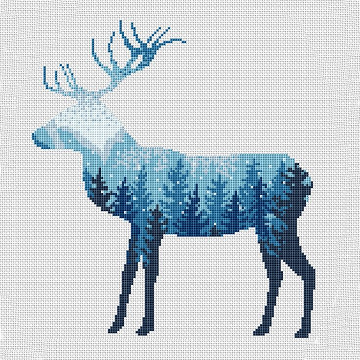 Cross Stitch Pattern Nature, Cross Stitch Patterns Landscape Modern, Scandinavian Forest Stitch Deer Nature Embroidery Deer Forest N-023