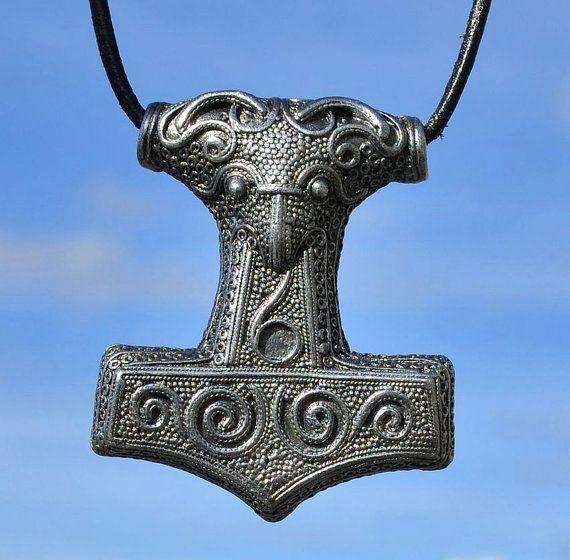SCANIA Swedish Tin THOR's HAMMER Pendant Viking Mjollnir Mjolnir Mjolner Norse Pagan Pendants Charm Charms Necklace Sweden Warrior Symbol