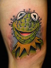 Pinhead Kermit tattoo by Chris 51 of Area 51 Tattoo in Springfield, OR & Epic Ink on A&E