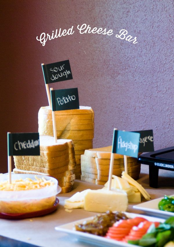 Get your melt on! Grilled Cheese Bar from Confetti Sunshine. You can use Avery chalkboard labels and let guests write in the name of the cheese or bread they bring to the party.