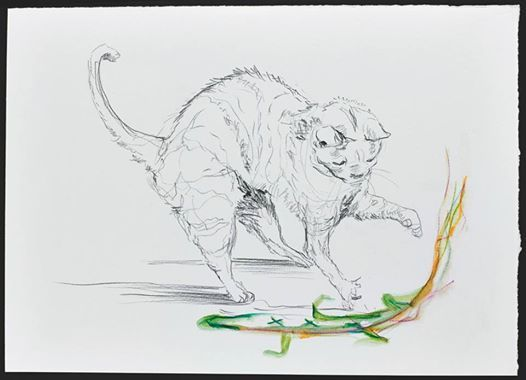 Wolfgang Neumann, 2014 Bleistift und Aquarellstift auf Papier Pencil and watercolor pencil on paper, 25 x 35 cm  In: Aras Ören, Kopfstand, Seite 105 / page 105