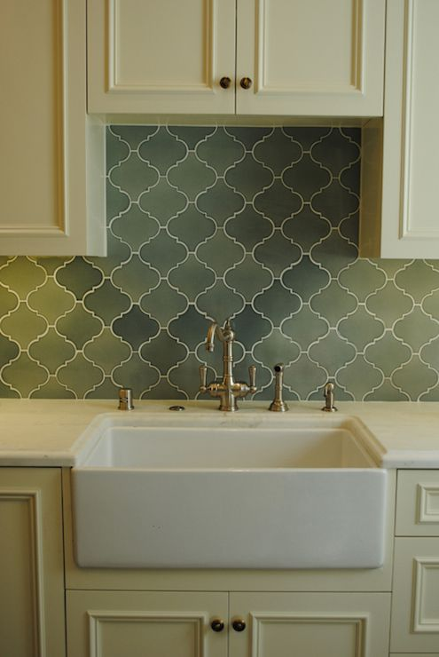 green tile kitchen backsplash cabinets brass hardware green arabesque tile 17954