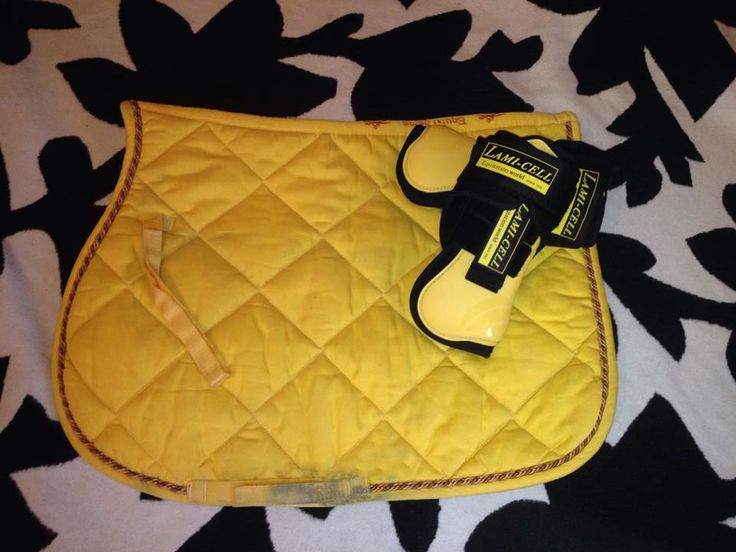 Yellow Equi Theme Saddle Pad & Lamicell Tendon Boots yellow
