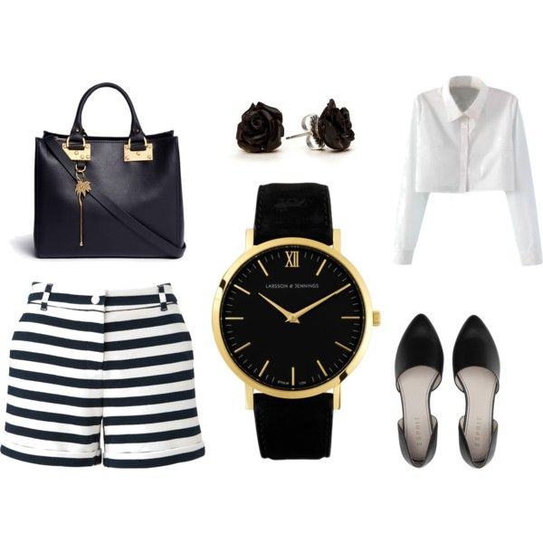 Black, White & Gold by brooke-stewart98 on Polyvore featuring Petit Bateau, Sophie Hulme and Larsson & Jennings