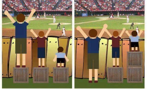 'eerlijk' betekent niet altijd hetzelfde als 'iedereen hetzelfde', mooi om zo aan kinderen te laten zien! Iedereen krijgt wat hij/zij nodig heeft om verder te kunnen.