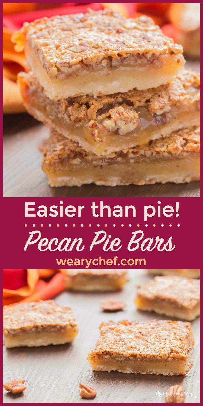 These Pecan Pie Bars are easier to make and serve than traditional pecan pie. Perfect for holidays or an any time treat!