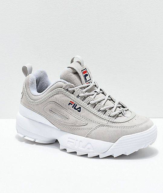 9d8e8b32696 FILA Disruptor II Premium Suede Grey Shoes