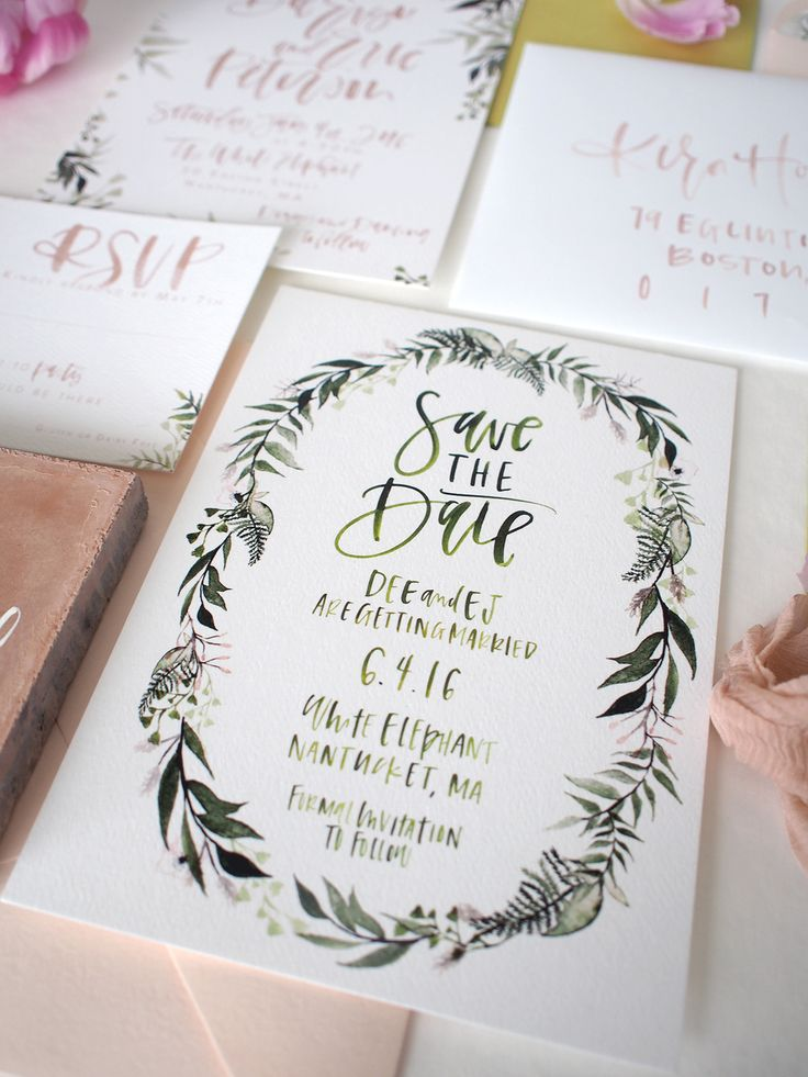Beautiful Save the Date invitation. Beautiful lettering and the hand drawn floral border looks gorgeous.