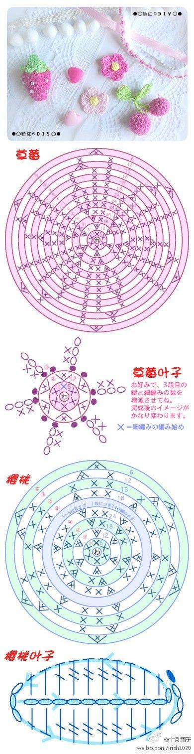 Amigurumi Strawberry - Chart ❥ 4U // hf crochet pattern
