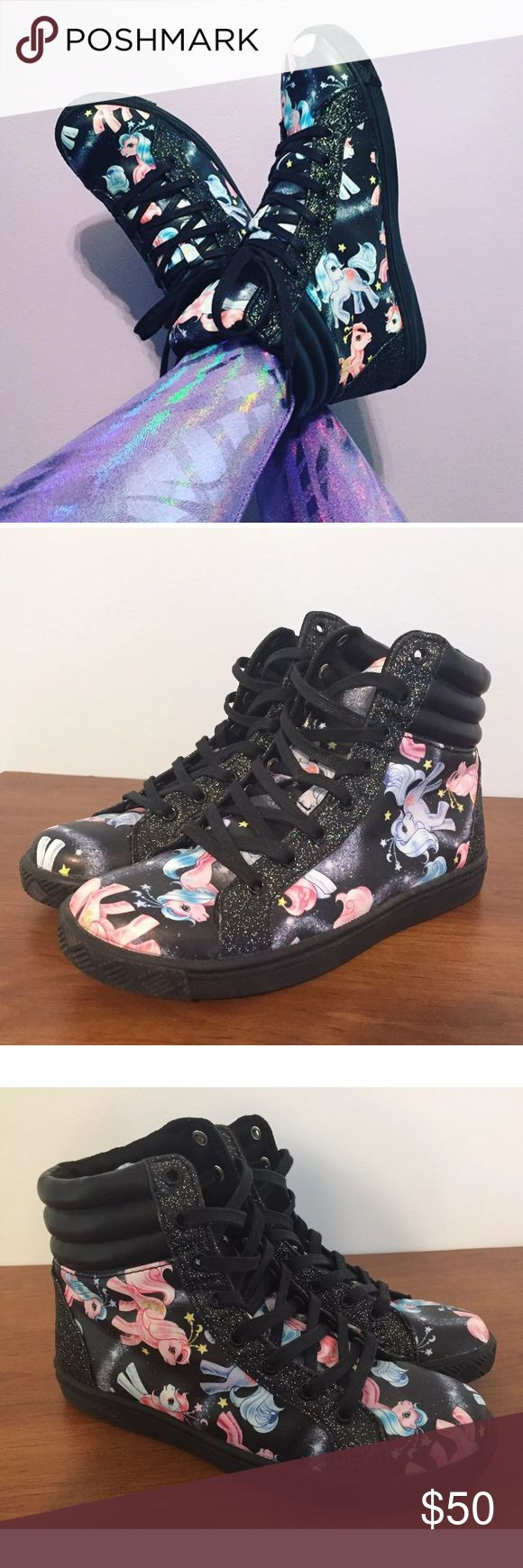 Iron Fist My Little Pony High Top Sneakers These shoes are really cute and sparkly!  They are in very good used condition, worn just a few times. Iron Fist Shoes Sneakers