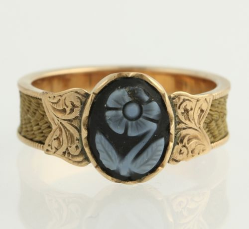 Victorian-Mourning-Ring-Woven-Hair-Carved-Agate-Band-14k-Gold-Flower-Size-5-75