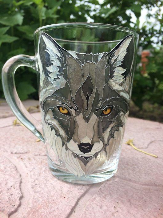 Кружки и чашки ручной работы. Ярмарка Мастеров - ручная работа. Купить Чашка с ручной росписью Волк. Handmade. Волк
