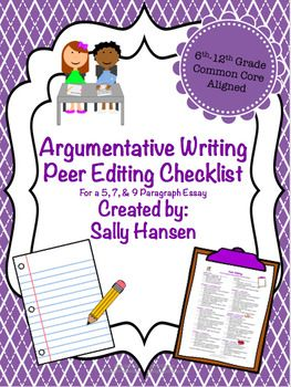 The 3 peer editing checklists are very detailed (for a 5, 7, & 9 paragraph essay) created for the progressing writer. Excellent for mixed or leveled classes to give students individualized instruction. Practical and easy to understand. Students will know what is expected of them and they will have opportunities to reflect on their