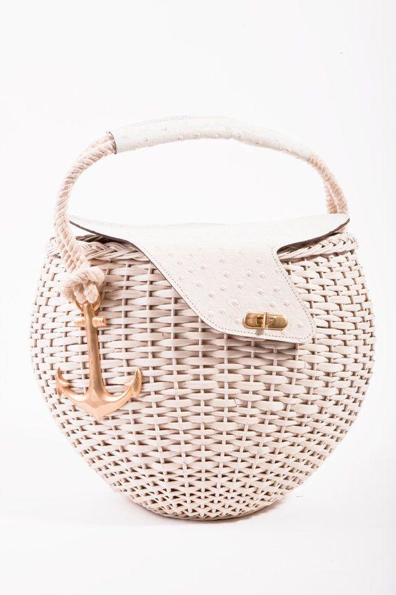 VINTAGE Tano Cream Wicker Gold Anchor Spring/Summer Picnic Basket Bag