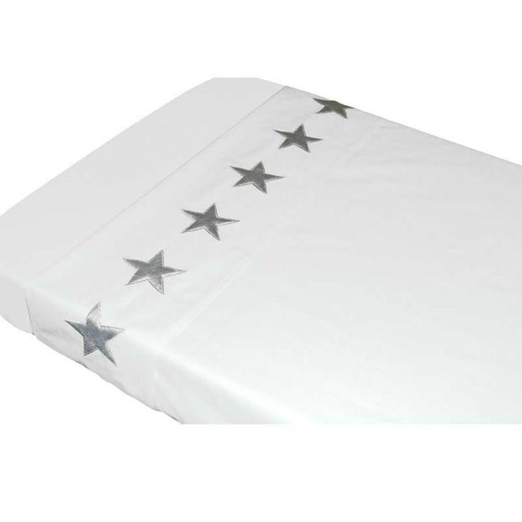 Taftan zilveren sterren wieglakentje wit - IKenIK.nl
