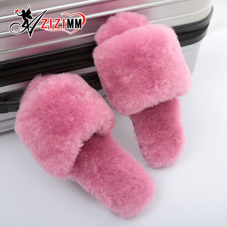 2017 Natural Sheepskin Slippers Fashion Winter Open Toe Women Indoor Slippers Fur Warm High Quality Wool Soft Plush Lady AWM137