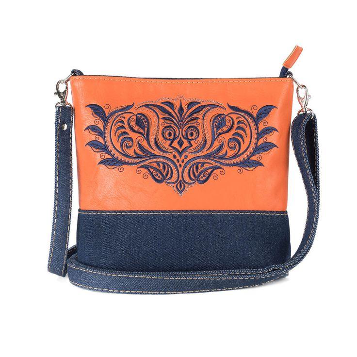 Женская сумка из комбинированных материалов «Индиго» | Tizetta | Торжокские золотошвеи