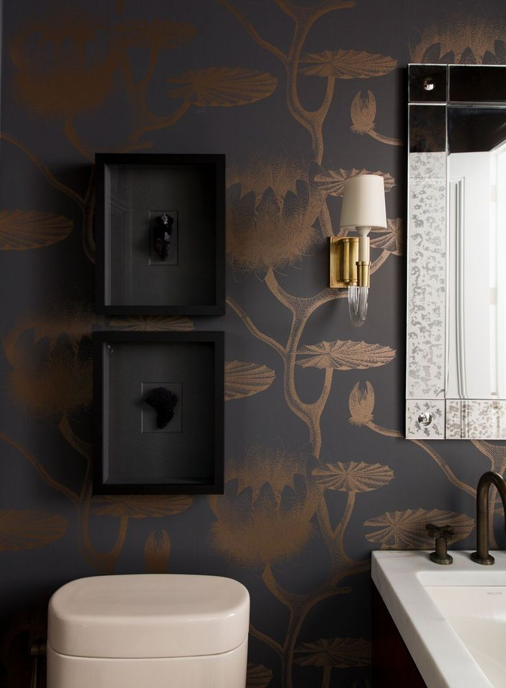 Dark Powder Room With Gold Black Wall Paper Powder Rooms Are A Great Place To Start When Your Wall Powder Room Design Simple Bathroom Bathroom Design Small