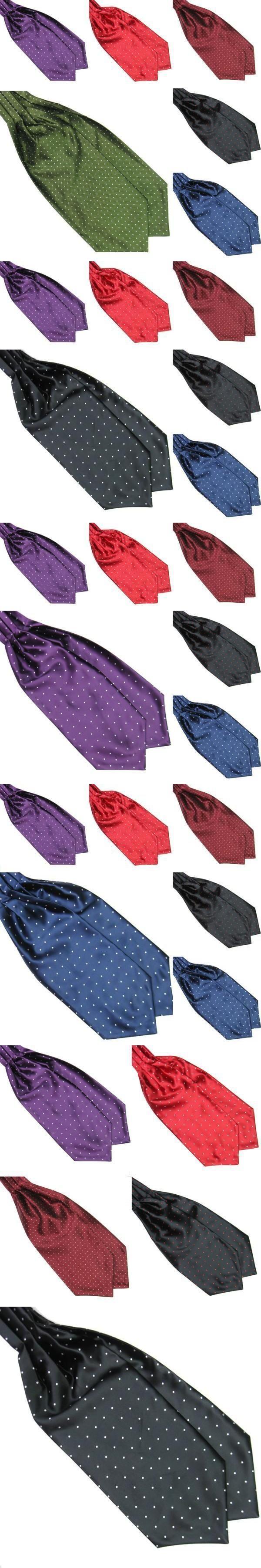 Men Fashion Polka Dot Long Silk Cravat Ascot Ties Handkerchief Gentlemen Neck Tie
