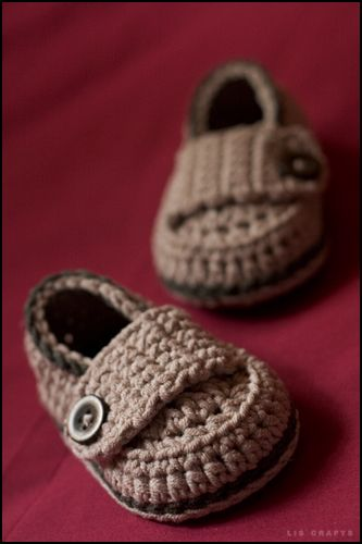 itty bitty button  crocheted loafers